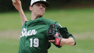 Shenendehowa's Ian Anderson (19) pitches against Queensbury during a boy's high school baseball game in Clifton Park, N.Y., Saturday, May 14, 2016. (Hans Pennink / Special to the Times Union) ORG XMIT: HP106