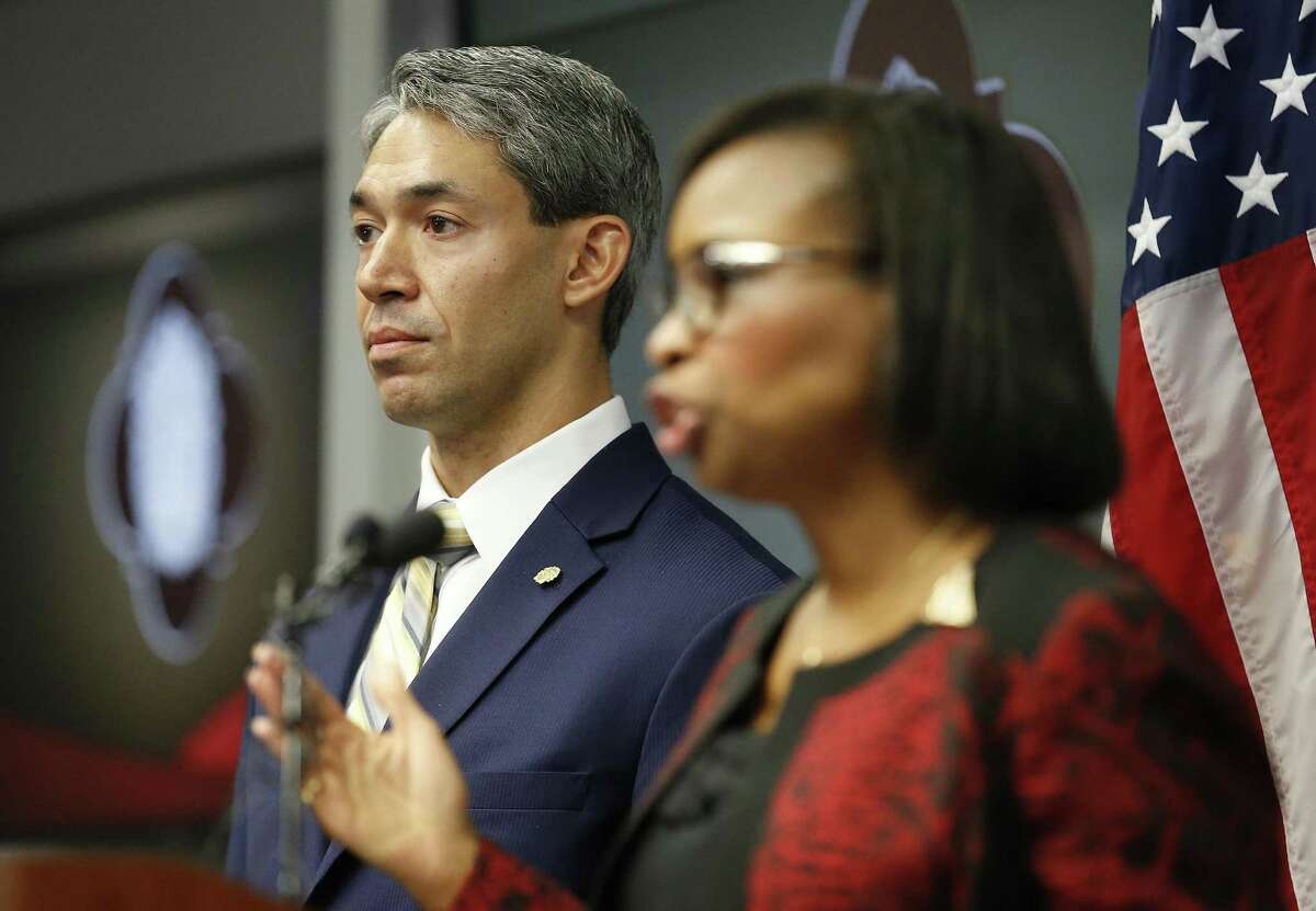 District 8 Councilman Ron Nurinberg (left) stands beside Mayor Ivy Taylor (right) as they address the media after San Antonio City Council approved the city?'s three SA Tomorrow plans Thursday, Aug. 11, 2016 restoring environmental proposals to the master-planning documents that were in danger of being removed but also thwarting efforts by Nirenberg to reinstate a litany of other provisions. The three documents, which address comprehensive planning, multimodal transportation and sustainability, have been in the works for more than a year. SA Tomorrow is designed to help the city prepare for an additional 1.1 million people expected to live in Bexar County by the year 2040. (Kin Man Hui/San Antonio Express-News)
