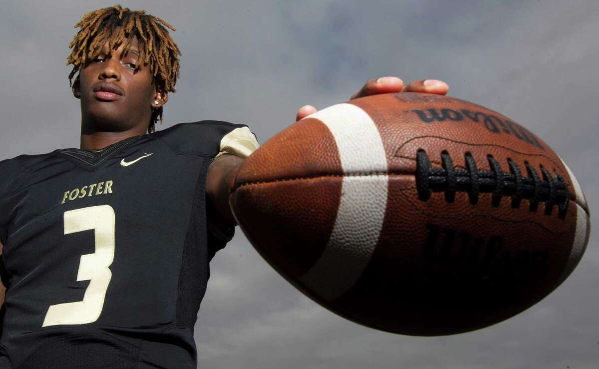 Foster's Cedarian Lamb poses for a portrait on Thursday, Dec. 22, 2016, in Richmond. The wide receiver has been named the All-Greater Houston Offensive Player of the Year. ( J. Patric Schneider / For the Chronicle )