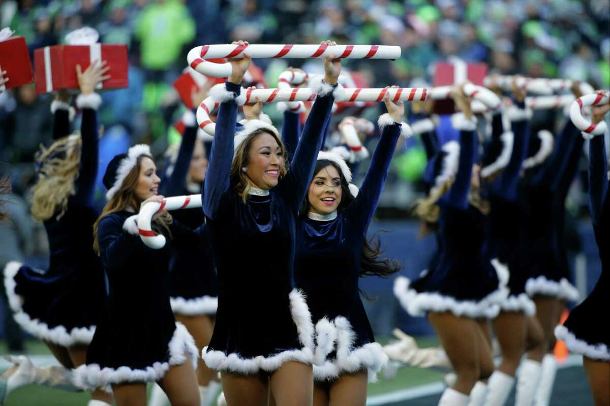 Seattle Seahawks Sea Gals cheerleaders perform against the Arizona Cardinals in the first half of an NFL football game, Saturday, Dec. 24, 2016, in Seattle. (AP Photo/Ted S. Warren)