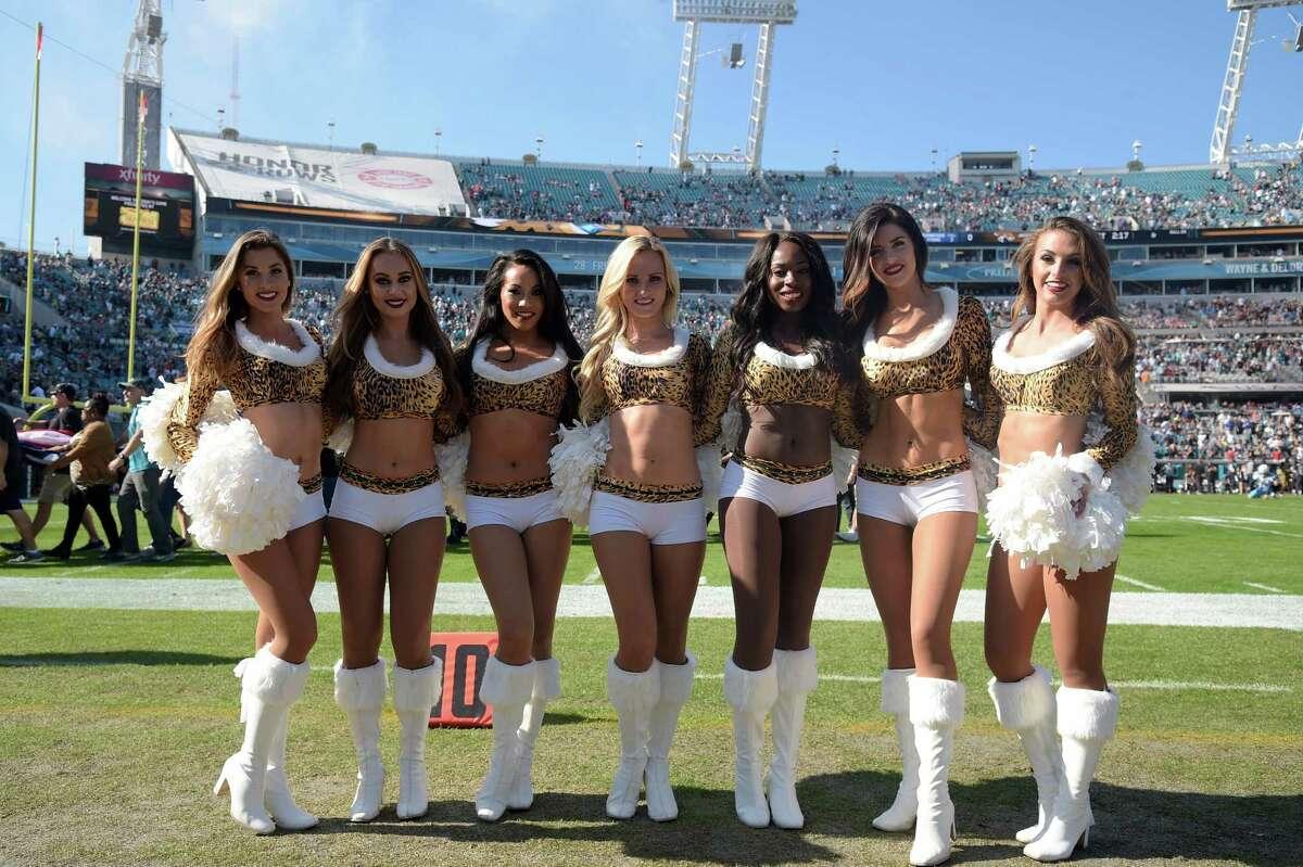 The Jacksonville Jaguars cheerleaders pose on the sideline before an NFL football game against the Tennessee Titans in Jacksonville, Fla., Saturday, Dec. 24, 2016. (AP Photo/Phelan M. Ebenhack)