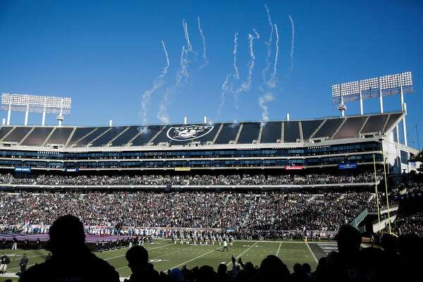 The Oakland Alameda Coliseum ahead of a football game between the Oakland Raiders and the Indiana Colts, in Oakland, Calif., on Saturday, Dec. 24, 2016.