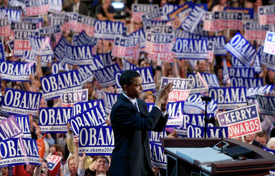 FILE - In this July 27, 2004, file photo, Barack Obama, then-candidate for the Senate from Illinois, speaks to delegates during the Democratic National Convention at the FleetCenter in Boston. (AP Photo/Charlie Neibergall, File) ORG XMIT: WX439 Photo: CHARLIE NEIBERGALL / AP2004