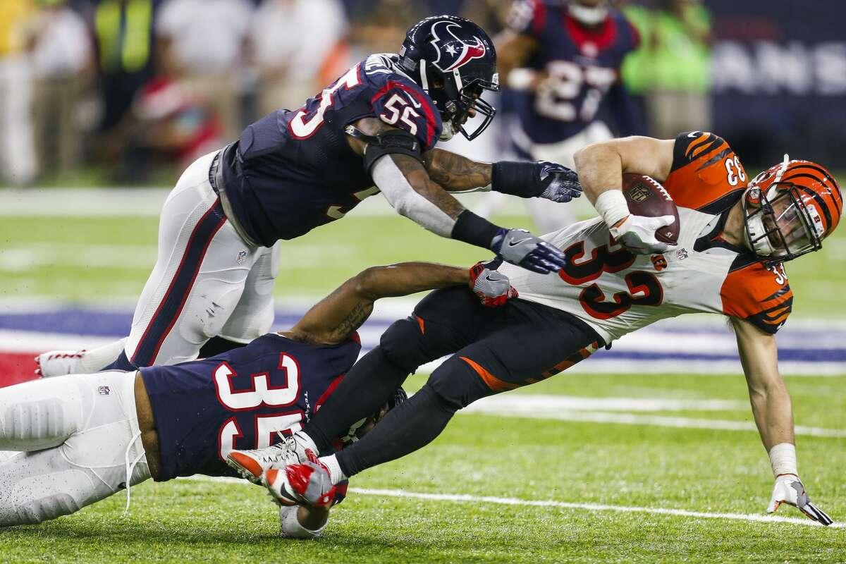 Houston Texans defensive back Eddie Pleasant (35) makes a tackle on Cincinnati Bengals running back Rex Burkhead (33) during the third quarter of an NFL football game at NRG Stadium on Saturday, Dec. 24, 2016, in Houston. ( Brett Coomer / Houston Chronicle )