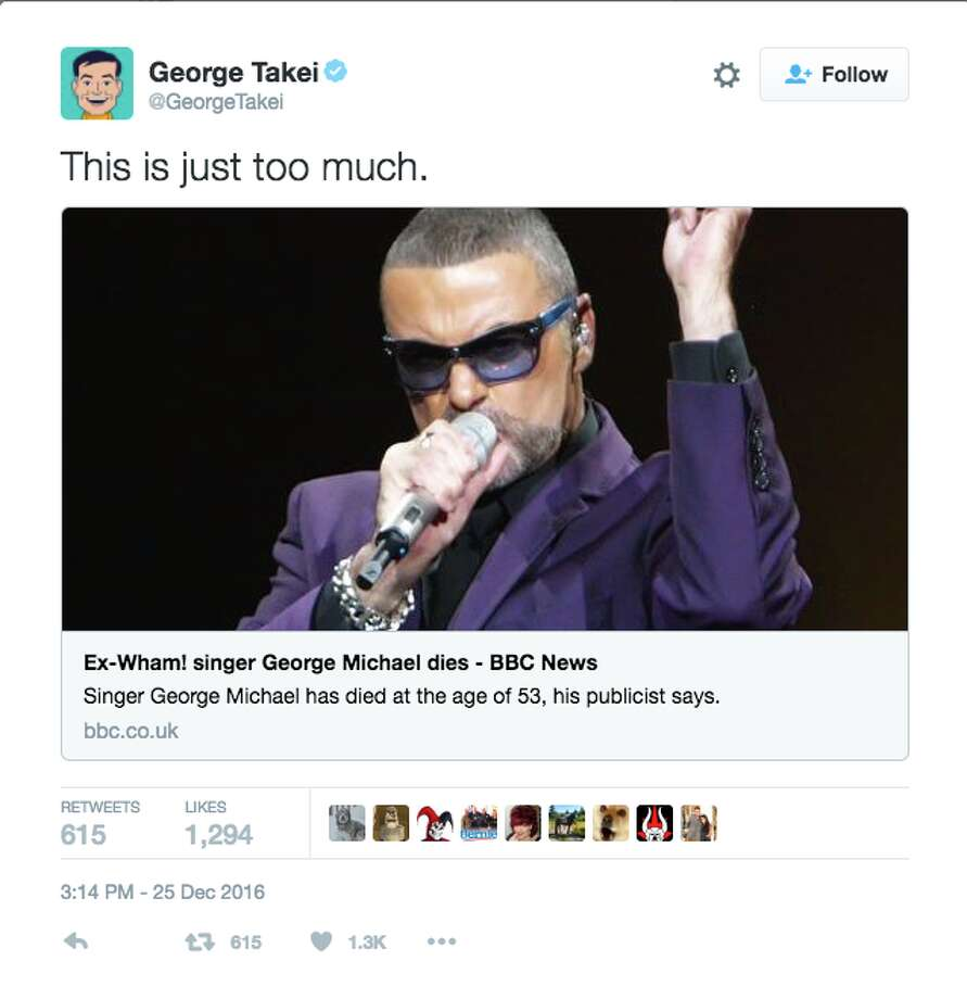 Celebrities react to the news that George Michael has died at the age of 53. Photo: Twitter Screenshot
