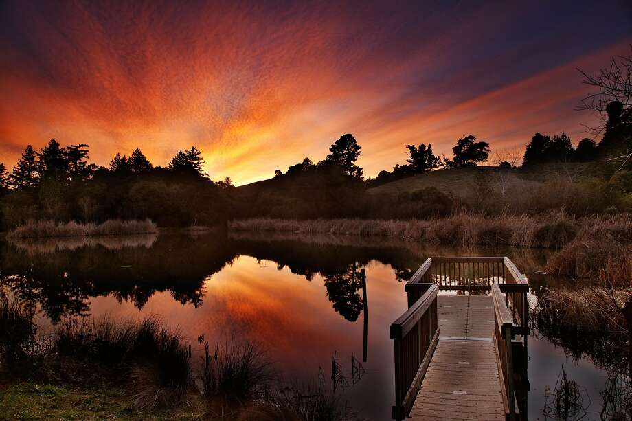 Glow on Alpine Pond at Skyline Open Space Preserve, located on the Peninsula Skyline at the junction of Alpine Road. A nature center and viewing deck overlooks the pond, and a pretty trail circles it. Photo: Greg Heikkinen, Special To The Chronicle