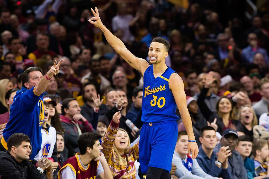 e3aa8ceea196 Stephen Curry celebrates after hitting a three point shot during the second  half against the Cavs