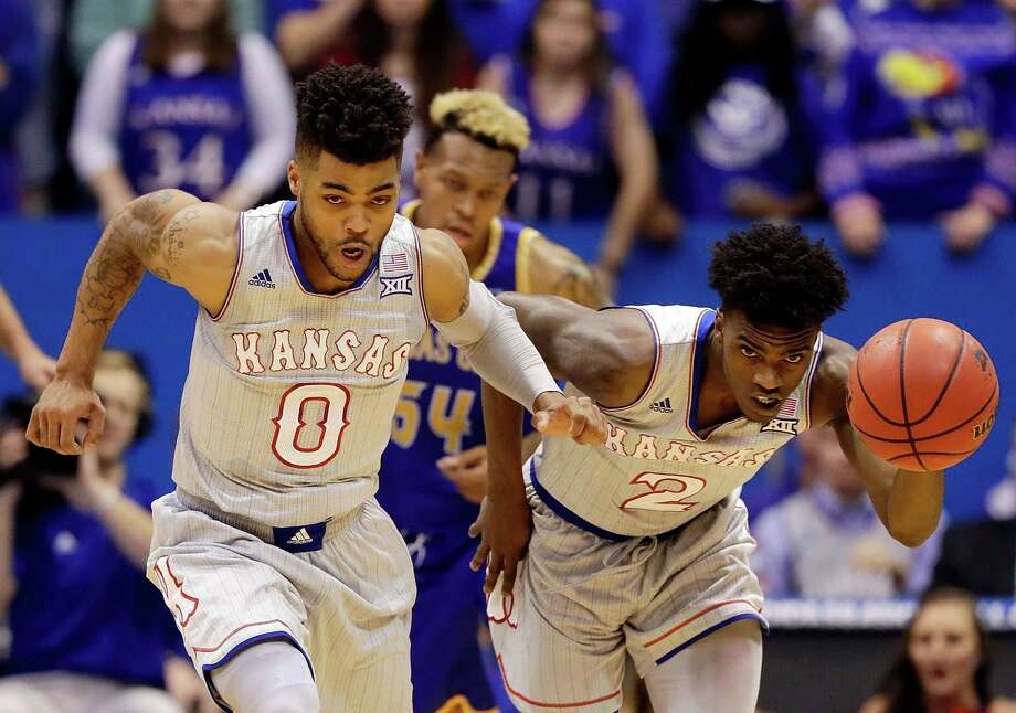 LAWRENCE, KS - DECEMBER 06:  Lagerald Vick #2 and Frank Mason III #0 of the Kansas Jayhawks drive upcourt during the game against the UMKC Kangaroos at Allen Fieldhouse on December 6, 2016 in Lawrence, Kansas.  (Photo by Jamie Squire/Getty Images) Photo: Jamie Squire, Staff / 2016 Getty Images