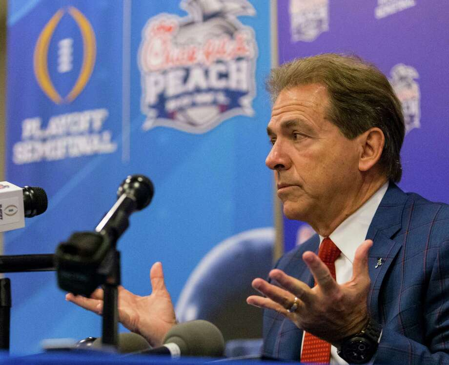 Alabama football coach Nick Saban talks with the media during a Peach Bowl NCAA college football press conference, Monday, Dec. 26, 2016, in Atlanta. Alabama takes on Washington on Saturday, (Vasha Hunt/AL.com via AP) Photo: VASHA HUNT, MBO / AL.com