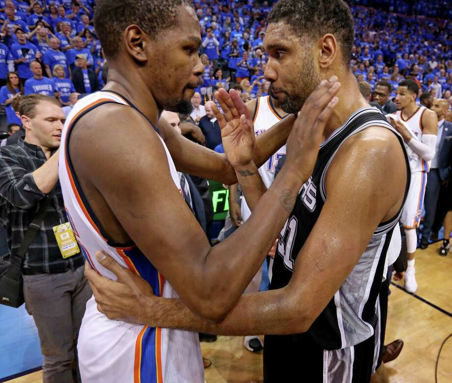 Oklahoma City Thunder's Kevin Durant and San Antonio Spurs' Tim Duncan talk after Game 6 in the Western Conference semifinals Thursday May 12, 2016 at Chesapeake Energy Arena in Oklahoma City, Oklahoma. The Thunder won 113-99. Photo: Edward A. Ornelas, Staff / San Antonio Express-News / © 2016 San Antonio Express-News