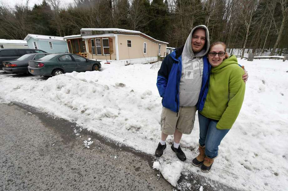 Patrick And Danielle Marshall Outside Their Home At The Kaydeross Acres Mobil Park Monday Dec