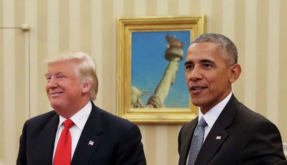 President Barack Obama meets with President-elect Donald Trump in the Oval Office of the White House in Washington, Thursday, Nov. 10, 2016. (AP Photo/Pablo Martinez Monsivais) ORG XMIT: DCPM116 Photo: Pablo Martinez Monsivais / Copyright 2016 The Associated Press. All rights reserved.