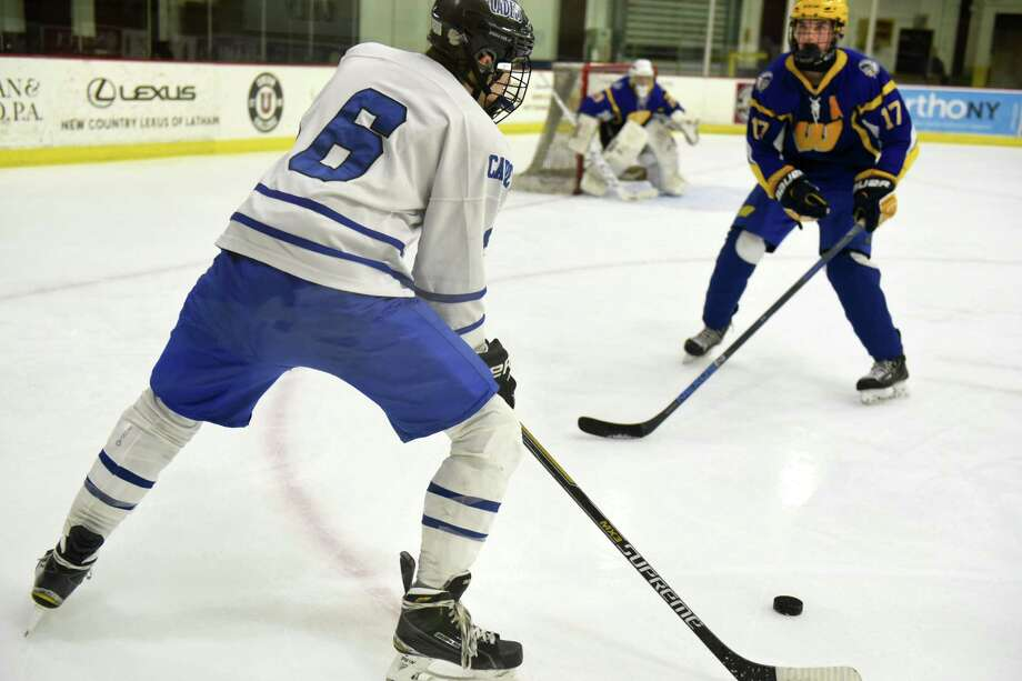 La Salle's Christian Rudd, left, lines up a shot for the net during a hockey game against West Seneca at Union College on Monday, Dec. 26, 2016 in Schenectady, N.Y. (Lori Van Buren / Times Union) Photo: Lori Van Buren / 20039243A