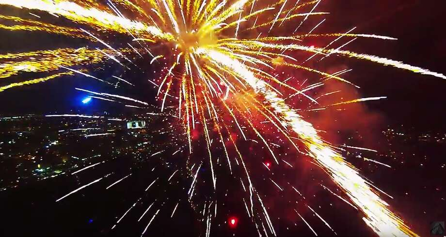 VIDEO: Drone flying through fireworks makes for mesmerizing