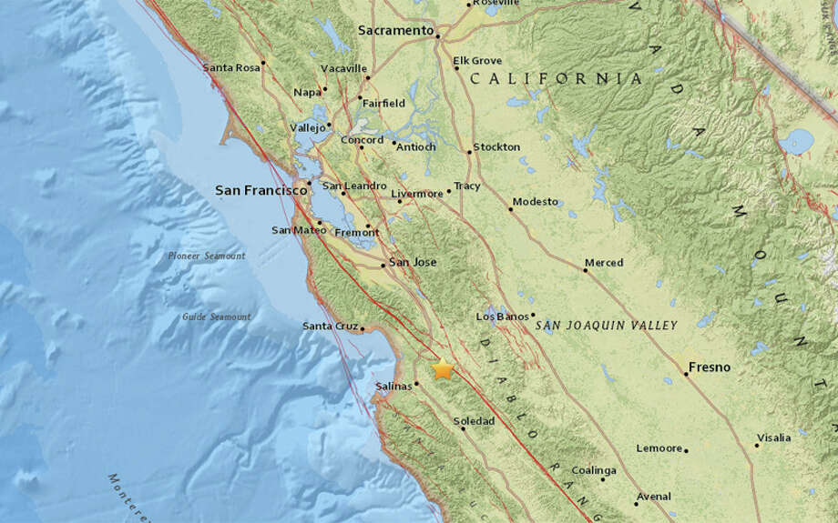 A magnitude 3.1 earthquake struck 6 miles South Southeast of San Juan Bautista, California at 7:01 am this morning. Photo: USGS