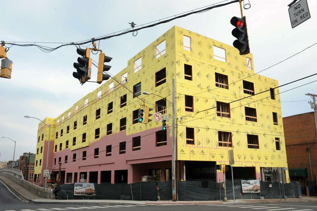 Bridge Street Commons, an apartment and retail building under construction in downtown Shelton last month.