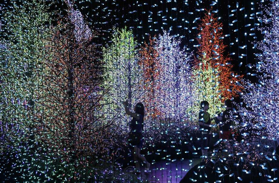 """People are silhouetted as they walk through a light installation titled """"Universal Journey"""" comprising of 824,961 light bulbs at the Universal Studios Singapore on Friday, Dec. 23, 2016, as part of celebrations in the lead up to Christmas in Singapore. (AP Photo/Wong Maye-E) Photo: Wong Maye-E/Associated Press"""