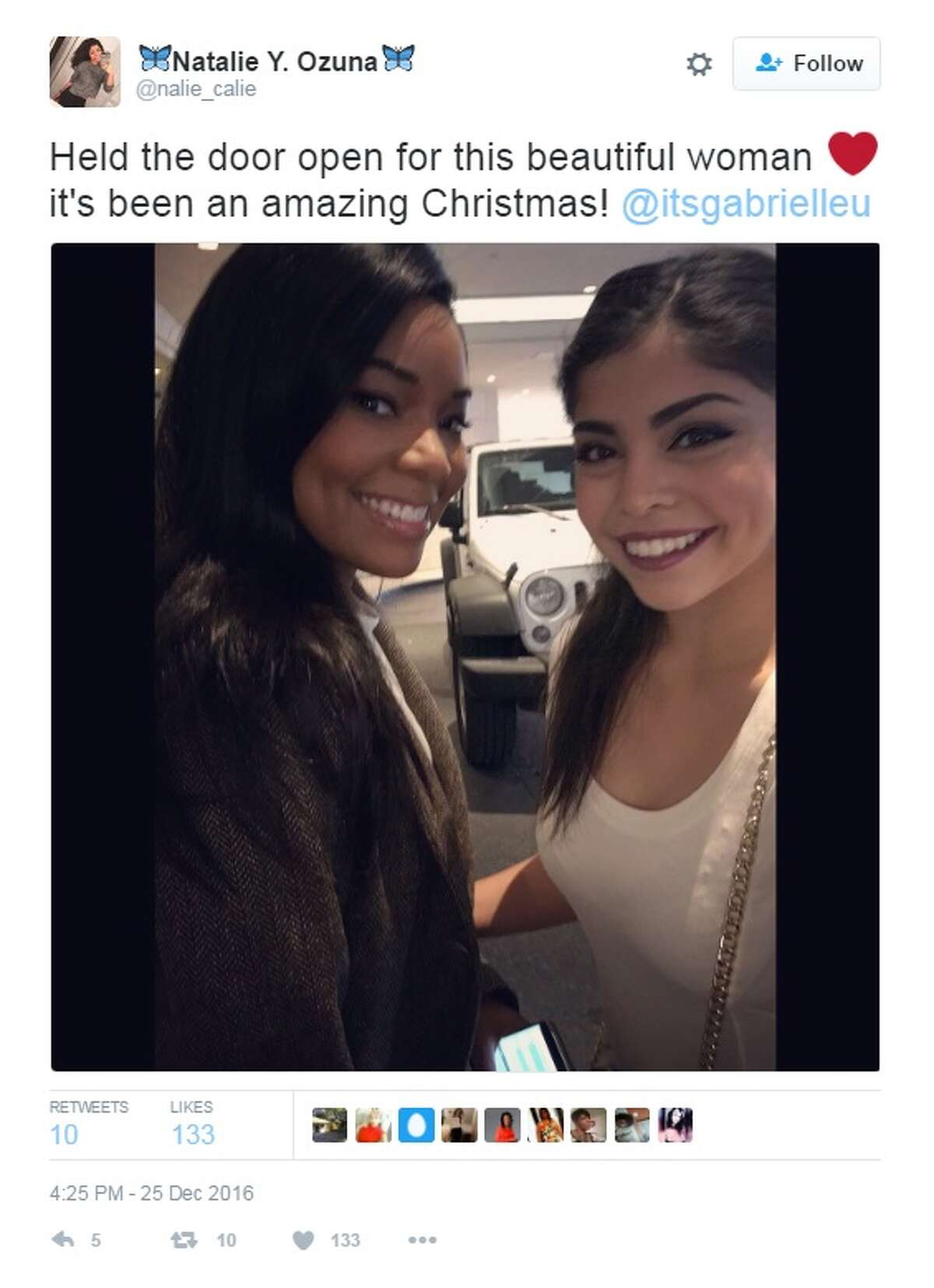 """""""Held the door open for this beautiful woman It's been an amazing Christmas! @itsgabrielleu,"""" @nalie_calie."""
