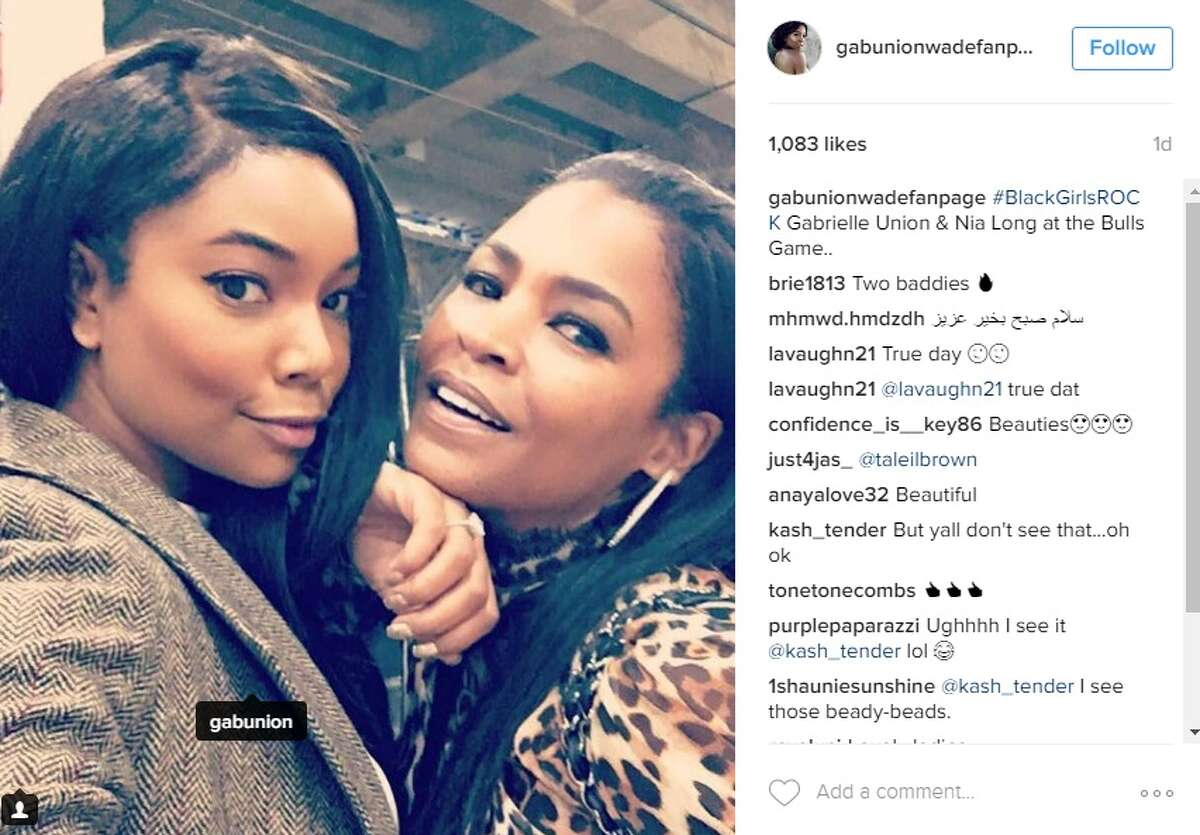 """#BlackGirlsROCK Gabrielle Union & Nia Long at the Bulls Game..,"" @gabunionwadefanpage."