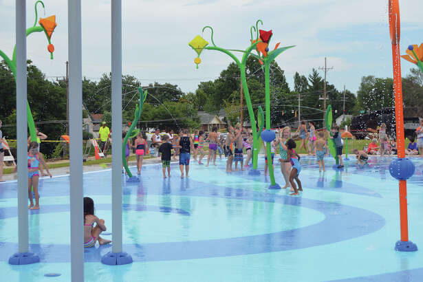 The splash pad at Leon Corlew Park opened in July.