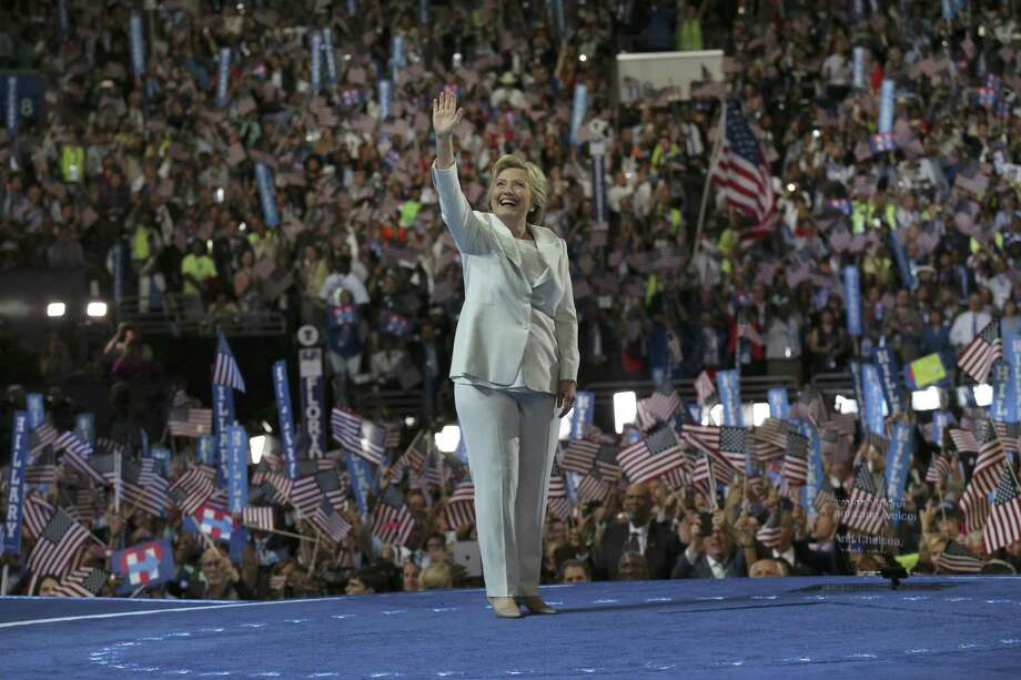 Hillary Clinton takes the stage to accept the presidential nomination at the Democratic National Convention in Philadelphia July 28. He love of pantsuits inspired a flashmob. Photo: Ruth Fremson /NYT / NYTNS