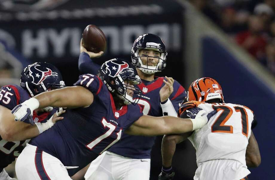 HOUSTON, TX - DECEMBER 24:  Tom Savage #3 of the Houston Texans throws a pass as Xavier Su'a-Filo #71 of the Houston Texans blocks Darqueze Dennard #21 of the Cincinnati Bengals in the third quarter at NRG Stadium on December 24, 2016 in Houston, Texas.  (Photo by Tim Warner/Getty Images) Photo: Tim Warner, Stringer / Getty Images / 2016 Getty Images