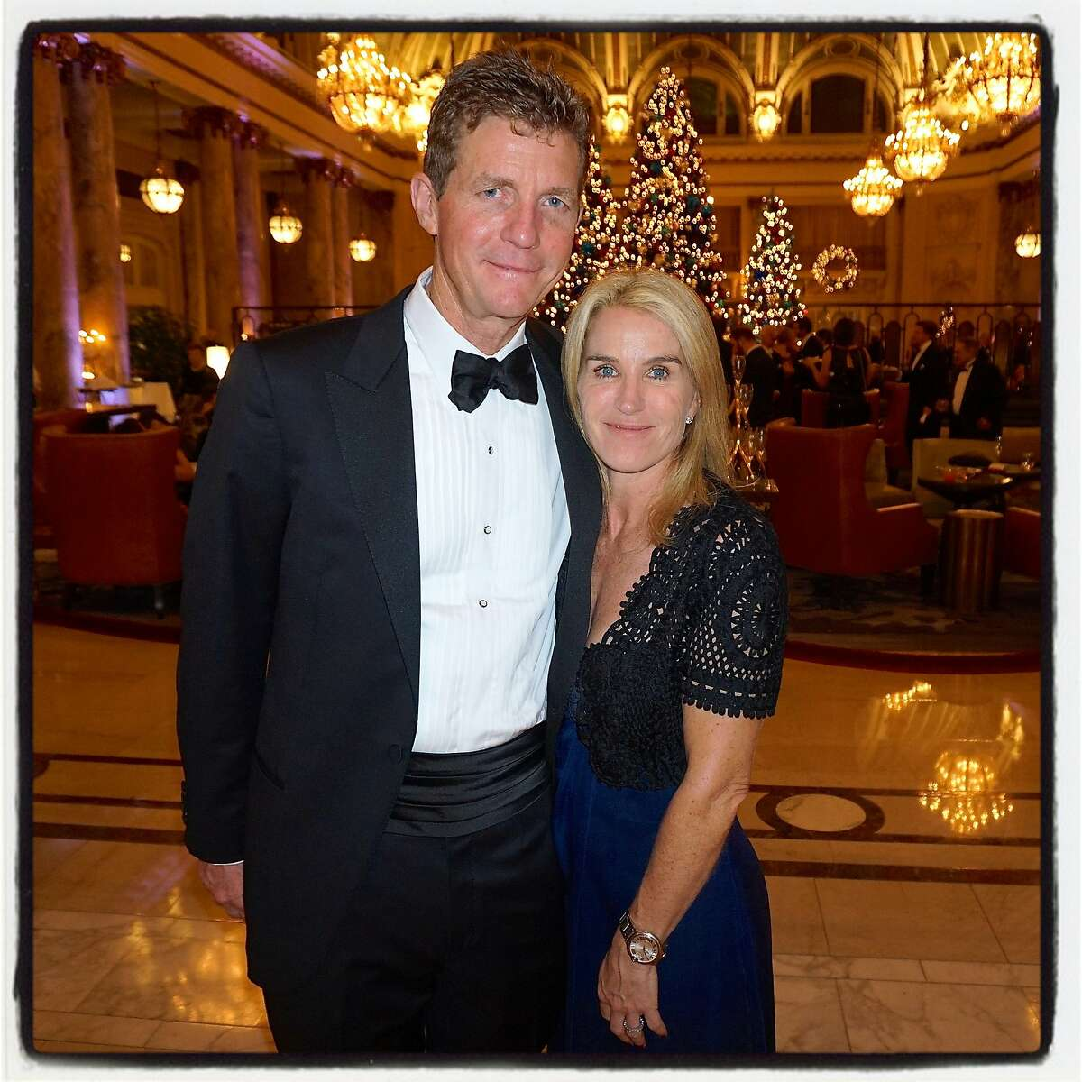 Brooks Walker III and his wife, Summer Tompkins Walker, celebrate the 75th Cotillion at the Palace Hotel. Dec 2016.