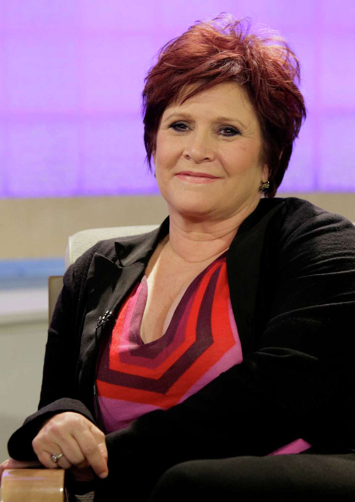 FILE - In this Tuesday, Sept. 29, 2009 file photo, actress and writer Carrie Fisher appears on the NBC