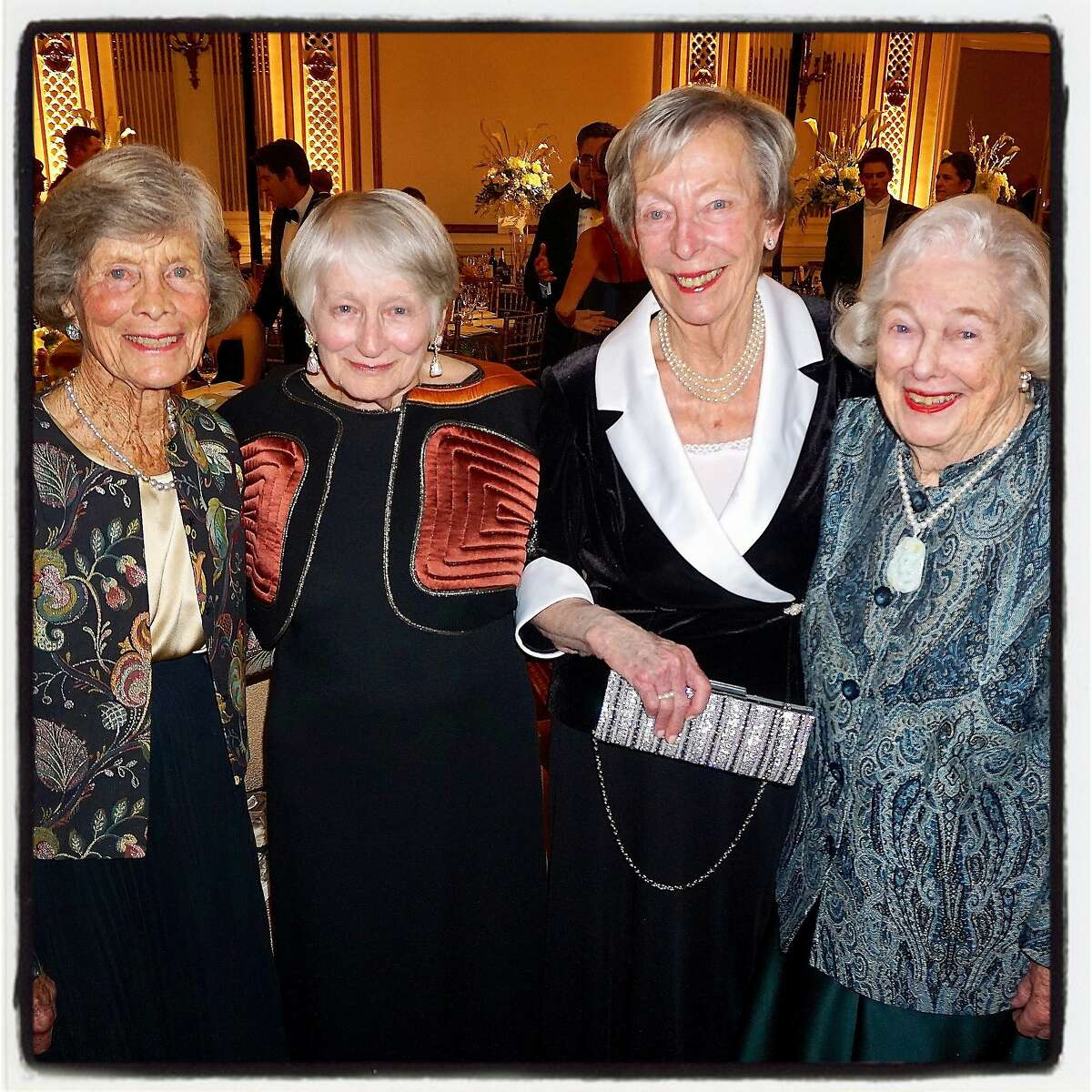 Former Cotillion Club debutantes (from left) Simone Hoag, Margaret Dennis, Jane Reynolds and Barbara Bentley at the Palace Hotel for the 75th Cotillion. Dec 2016.