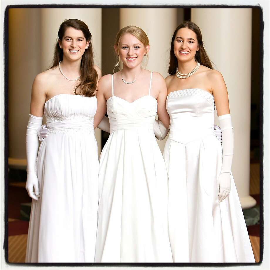 Debutante cousins (from left) Celine Bennett, Haley Hunter and Katrina Keating at the 75th Cotillion. Photo: Hilary Hood