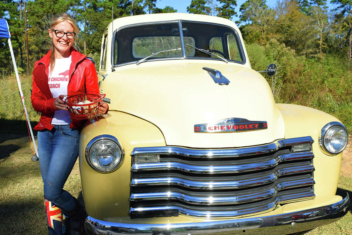 British born chicken and egg farmer Julie Everett opened her Red Chicken Ranch LLC in Magnolia and brought her eggs to the Farmer's Market on Tamina. Everett also delivers eggs in her vintage 1950s Chevrolet truck.