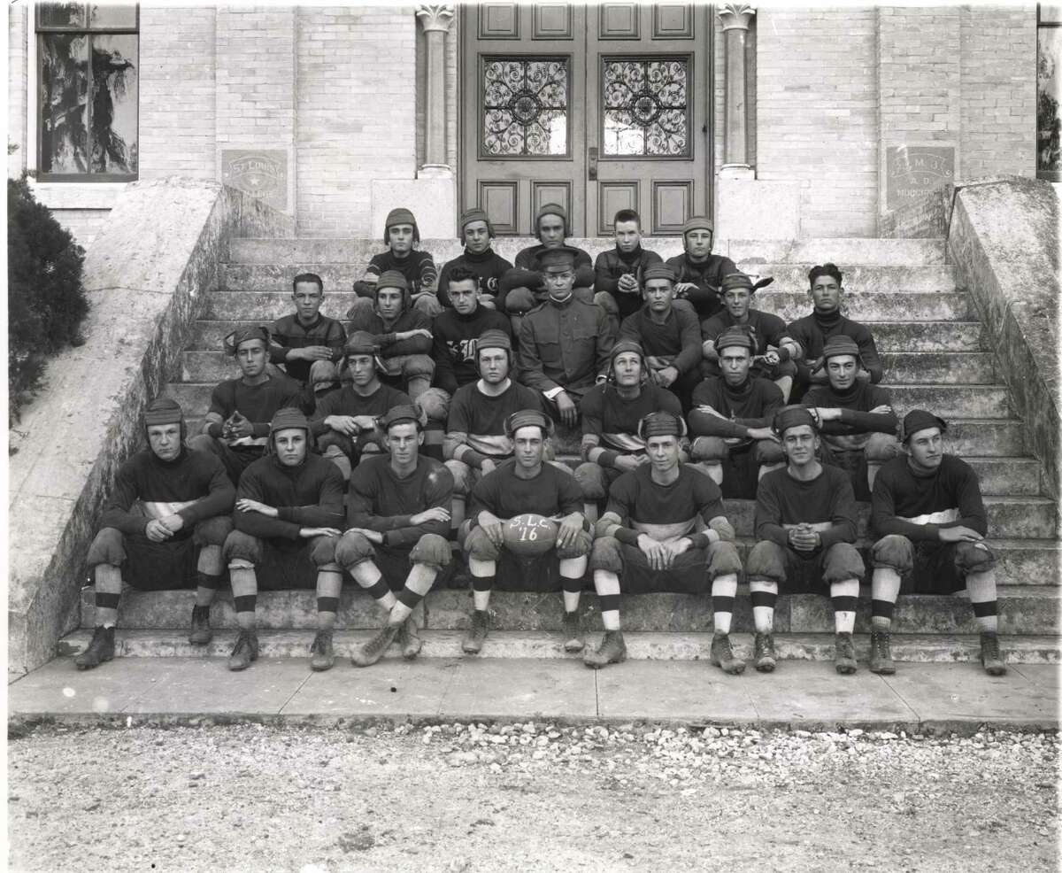 The 1916 St. Louis College football team is pictured, with future President Dwight D. Eisenhower (second row from top) pictured in his military uniform. He was stationed at Fort Sam Houston.