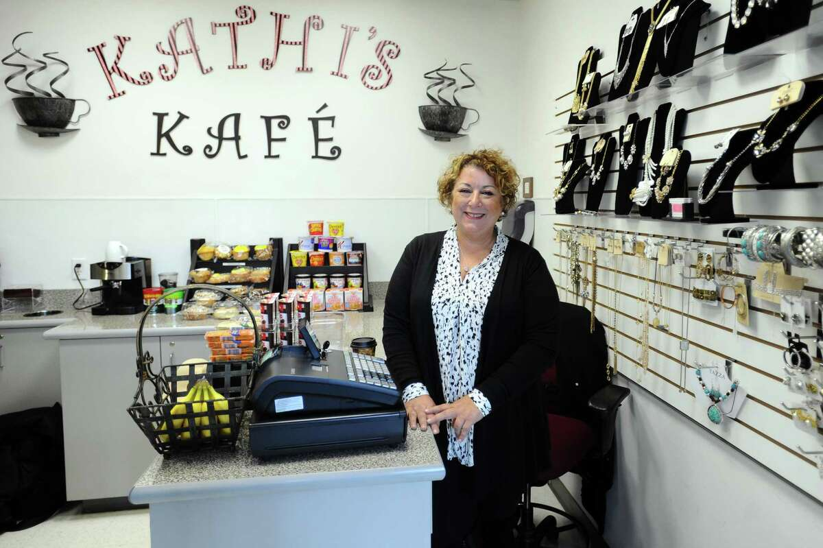 Kathi Moschos, owner of Kathi's Kafe at Stamford Government Center, poses for a photo in Stamford, Conn. on Tuesday, Dec. 27, 2016.