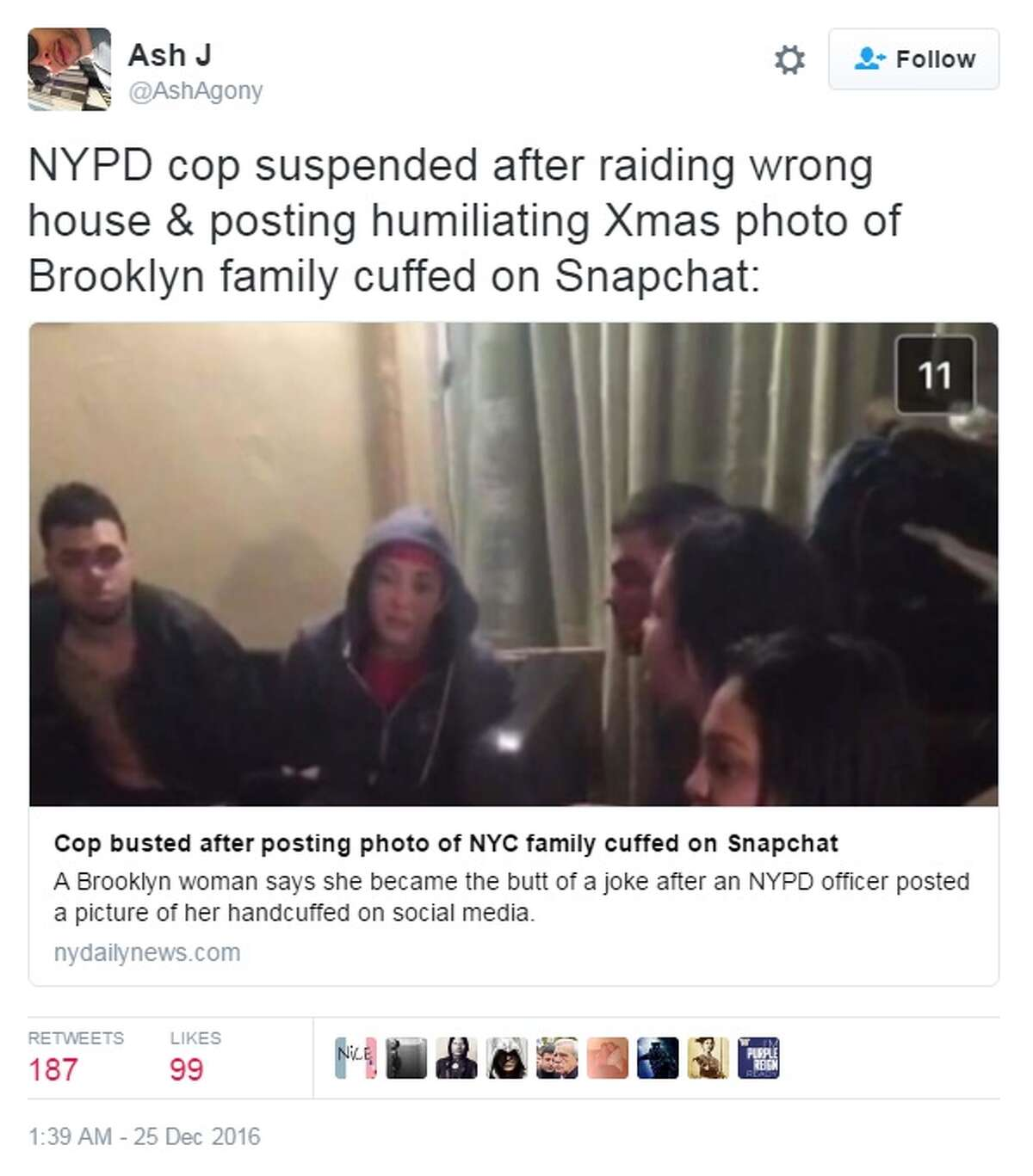 A New York Police Department officer has been suspended after allegedly posting a Snapchat of a family being arrested on Thursday. Image source: Twitter Click through the slideshow to see social media fails that have gotten people fired.
