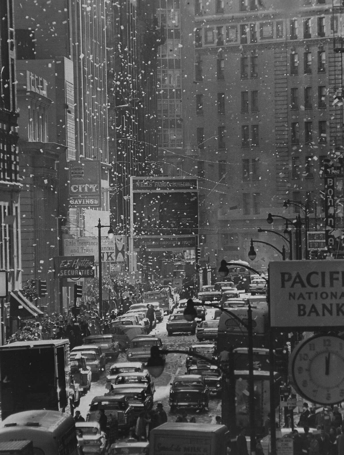 It's raining calendar books on New Year's Eve in San Francisco on December 31, 1964.