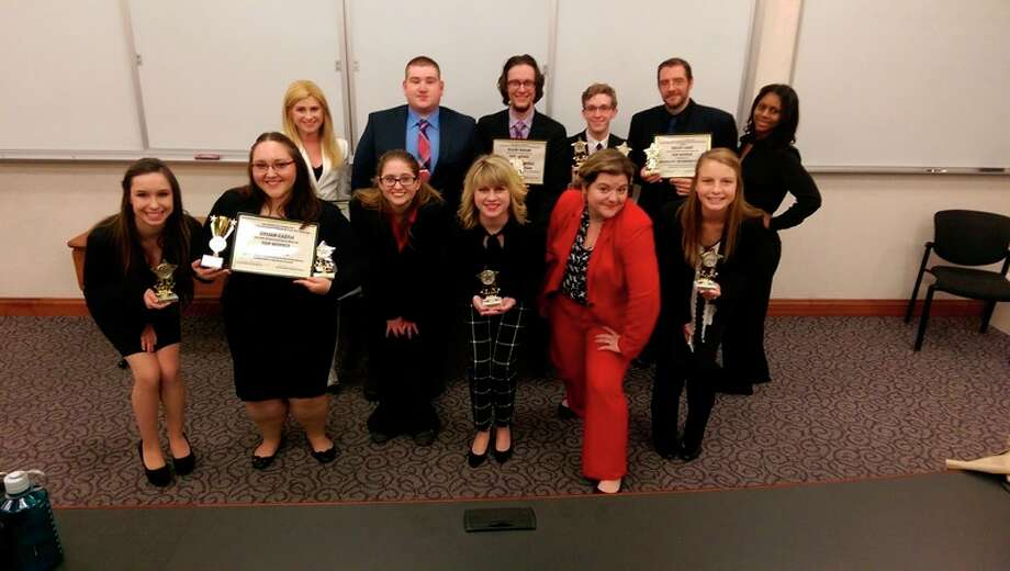 In this provided photo, the SVSU forensics team poses for a photo after competing Dec. 3 at the Michigan Intercollegiate Speech League tournament at Hillsdale College. Pictured in the front row, from left: Haley Elliott, Gylian Castle, Tiler Jewell, Abbey Leach, Codi Aymer and Melinda Dinninger. Pictured in the back row, from left: Jaeleen Davis, Cody Bromberg, Kaleb Yaeger, Erik Breidinger, Kelley Gray and Adia Rodgers.