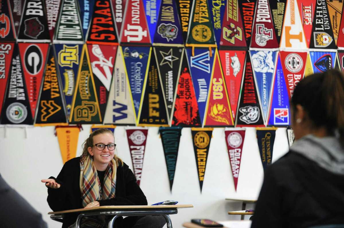 Stamford High School senior Liisa Balazs, 18, discusses why she wants to be educated about dealing with sexual assault during an after school meeting hosted by the Center for Sexual Assault Crisis Counseling and Education inside Stamford High School in Stamford, Conn. on Wednesday, Dec. 14, 2016.