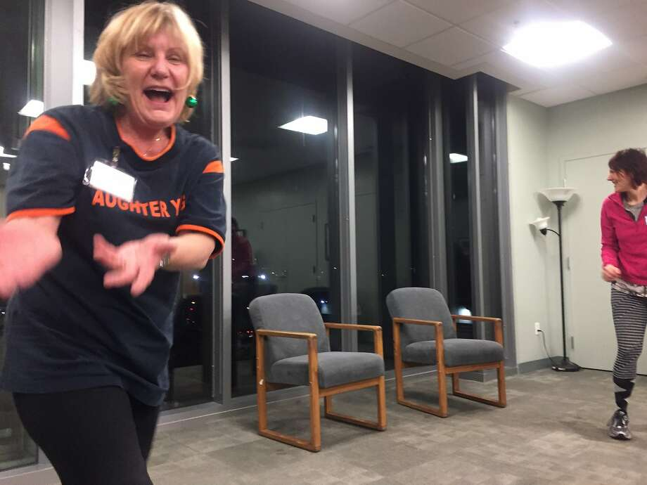 UCSF Osher Center for Integrative Medicine offers Laughter Yoga every other Wednesday. Teresa Corrigan has been teaching it for seven years. Photo: Beth Spotswood