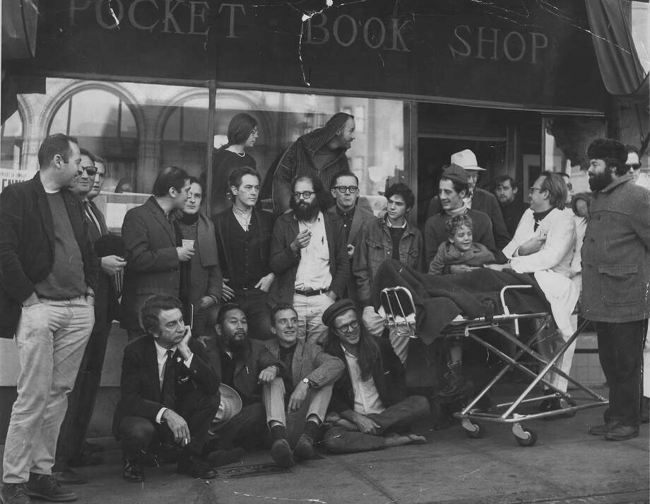 Poets line up in front of City Lights bookstore in December 1965. Photo: Peter Breinig, San Francisco Chronicle