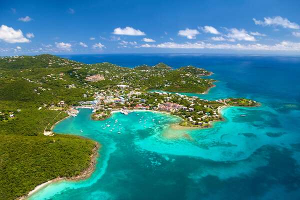aerial shot of Cruz Bay, St. John in US Virgin Islands cdwheatley/Getty Images