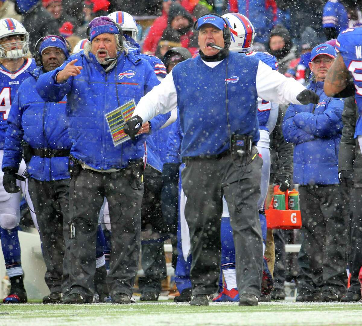 Rex Ryan went 15-16 in his two years in Buffalo, extending the Bills' run of non-playoff seasons to 17 and costing Ryan and his brother Rob, left, their jobs.
