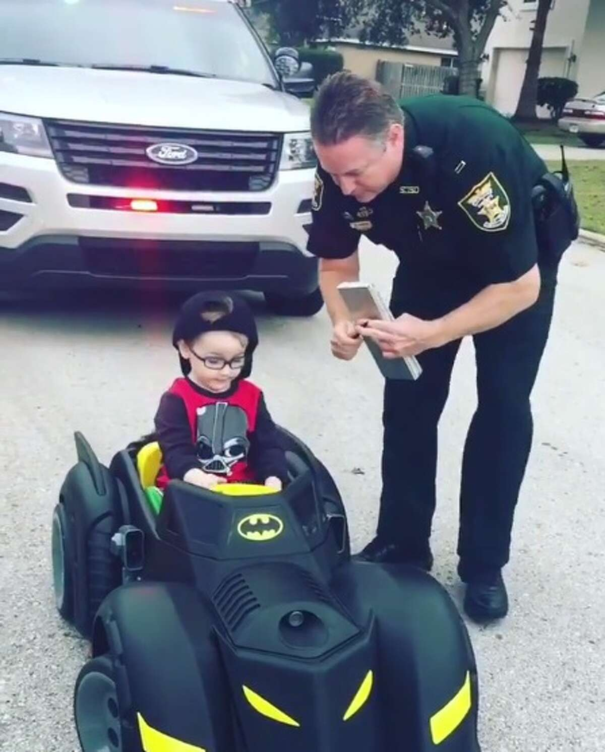 Melissa Brown's 2-year-old son, Colton, was pulled over by his grandfather, an officer, in northeast Florida.