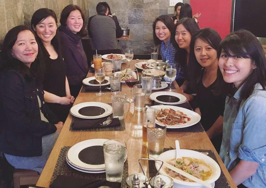 The Ferrante book club (from left): Aimee Phan, Reese Okyong K won, Frances Hwang, Kirstin Chen, Vanessa Hua, Beth Nguyen and Rachel Khong.