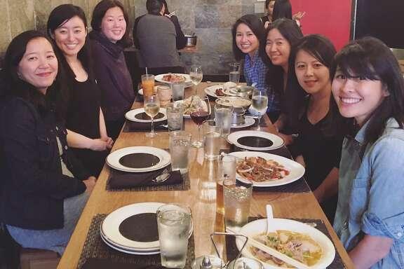 Thekaraokebook club (from left): Aimee Phan, Reese Okyong Kwon, Frances Hwang, Kirstin Chen, Vanessa Hua, Beth Nguyen andRachel Khong.