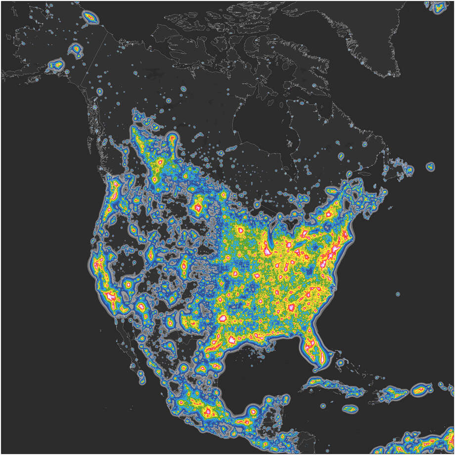 Map of North America's artificial sky brightness, in twofold increasing steps, as a ratio to the natural sky brightness. Falchi et al., Science Advances (2016), CC BY-NC Photo: Falchi Et Al.,  Science Advances (2016)
