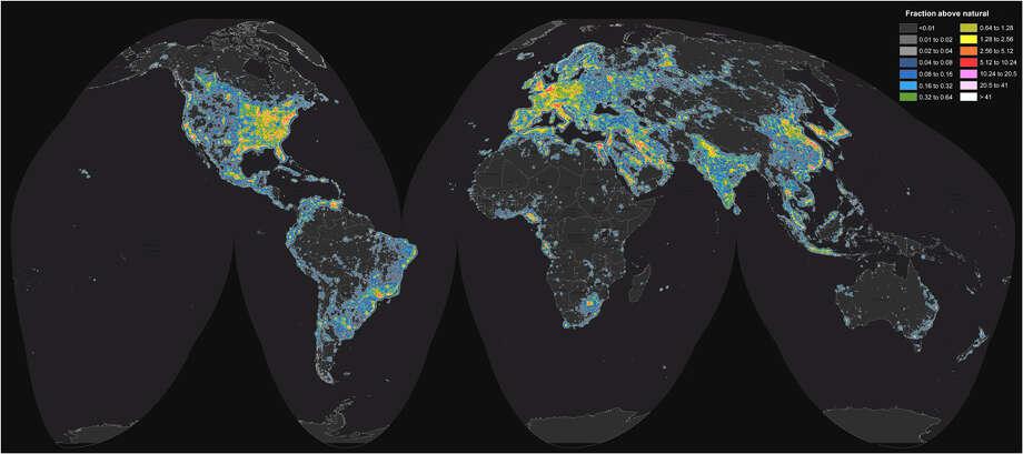 World map of artificial sky brightness.       F. Falchi, et al. Science Advances (2016), CC BY-NC Photo: F. Falchi,  Et Al. Science Advances (2016)
