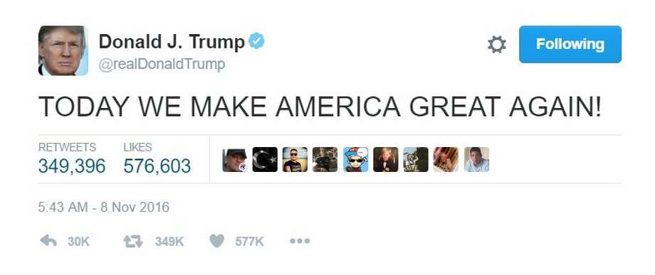"""TODAY WE MAKE AMERICA GREAT AGAIN!""Photo: Donald J. Trump's Twitter Photo: Twitter"