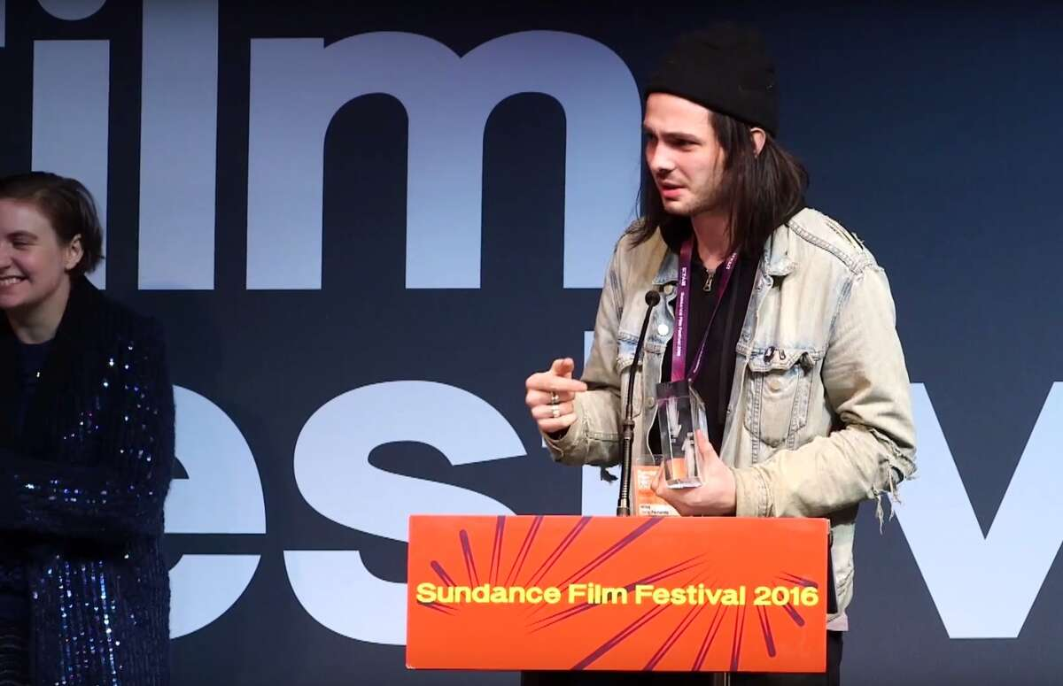 "Joris-Peyrafitte receiving his award for ""As You Are."" (screen grab / Sundance Film Festival)"