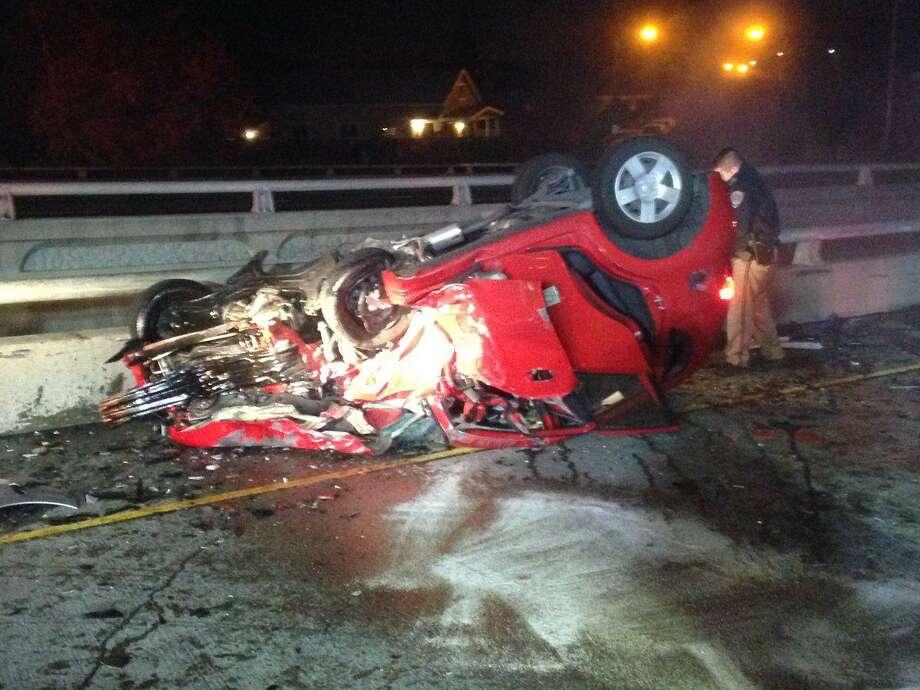 A rollover crash blocked all lanes on Interstate 280 near Bird Avenue in San Jose on Wednesday morning, the CHP said. Photo: Twitter: @SJFD / /
