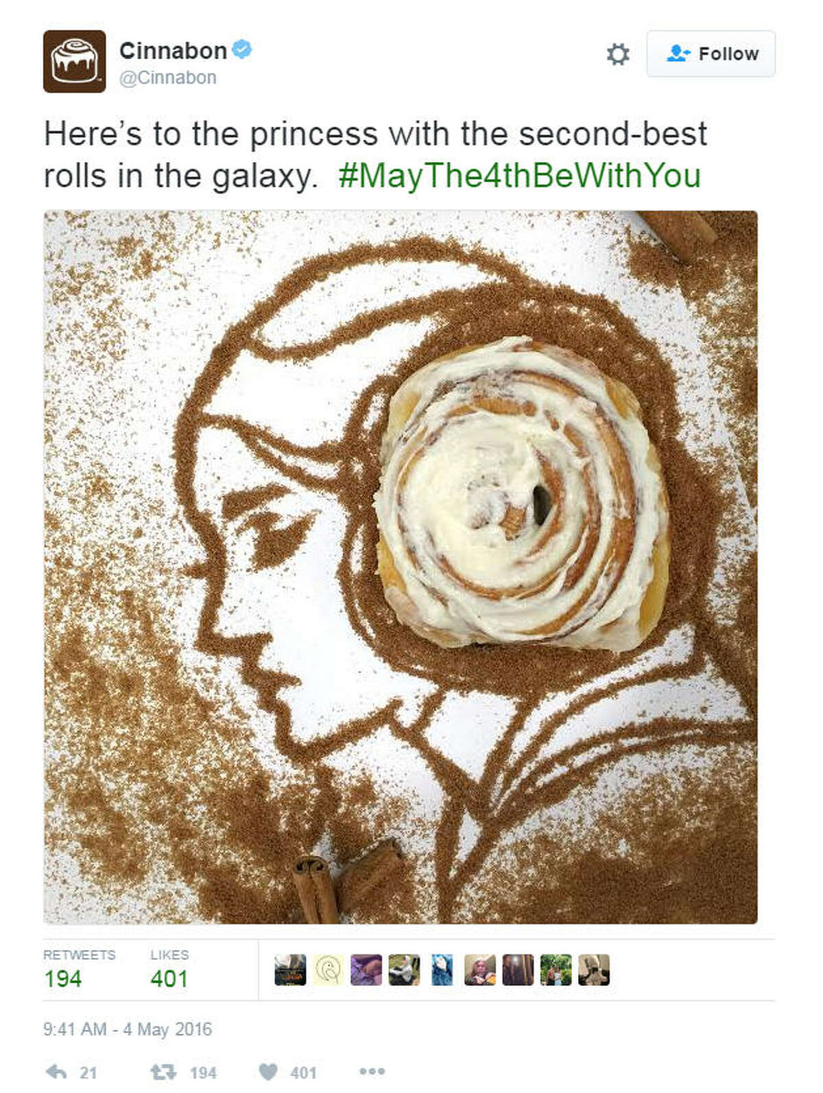 Original tweet Cinnabon had a little fun with actress Carrie Fisher, tweeting out a